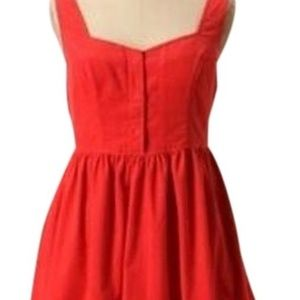 Anthropologie red corduroy dress